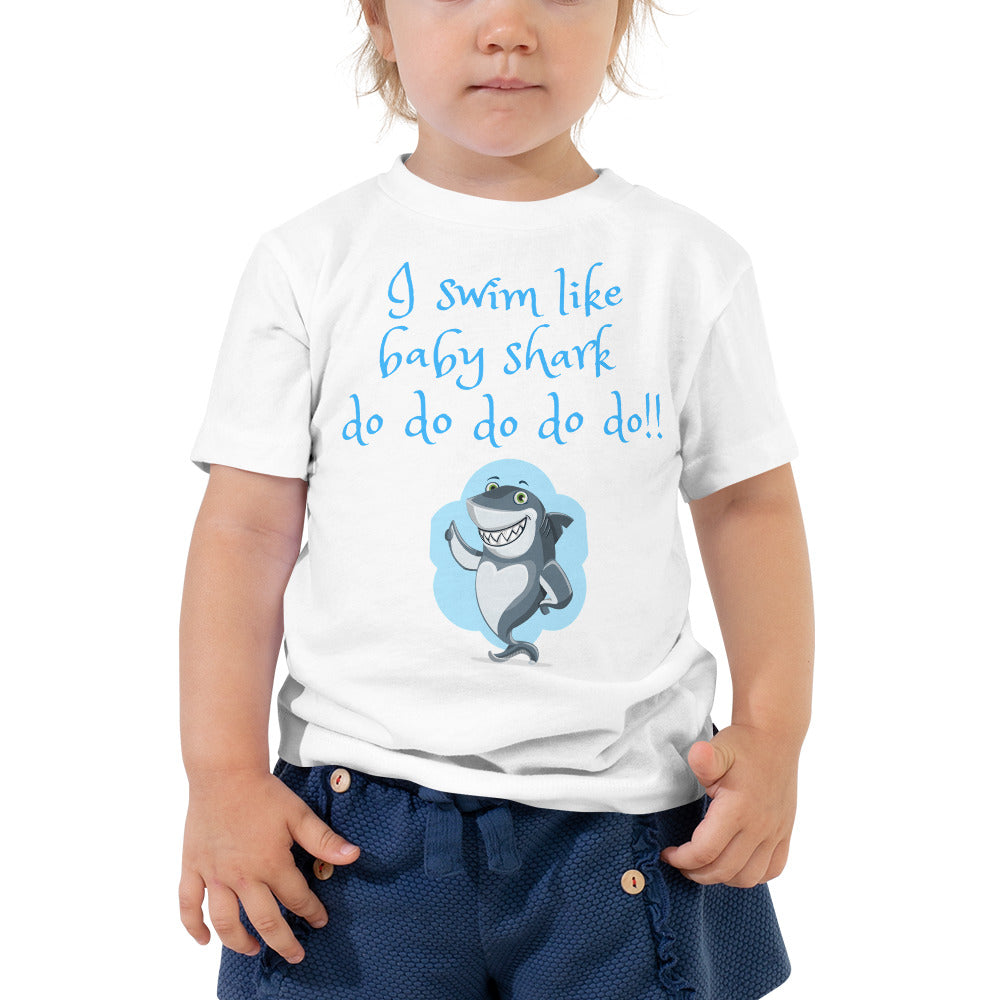 Toddler Short Sleeve Tee - I swim like baby shark (Multi Colors Available)