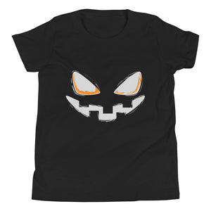 Youth Short Sleeve T-Shirt - Halloween Smile (Grey)