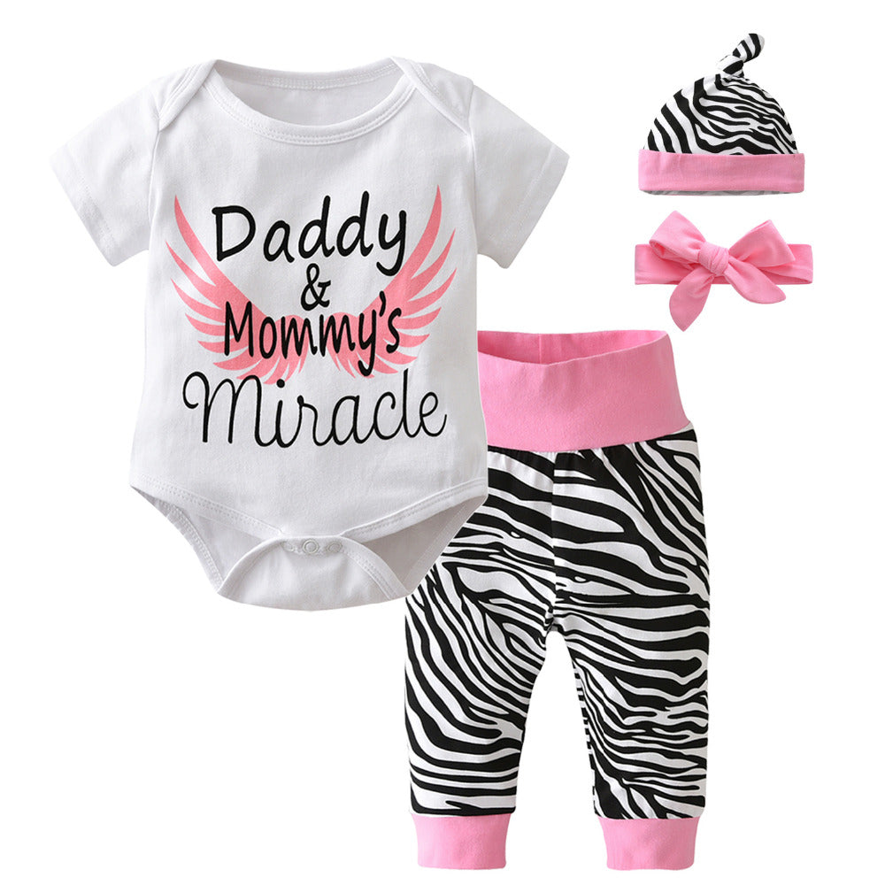 Adorable Baby Girls Short Sleeve Bodysuit, Zebra Pants, Headband & Cap