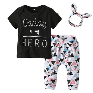Baby's Boys & Girls Summer Daddy is my Hero Short Sleeve T-shirt Tops, Pants & Headband Outfit