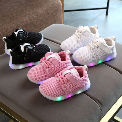 Baby Boys & Girls Light Up Soft Sole Sport Running LED Sneakers - Multi Colours Available