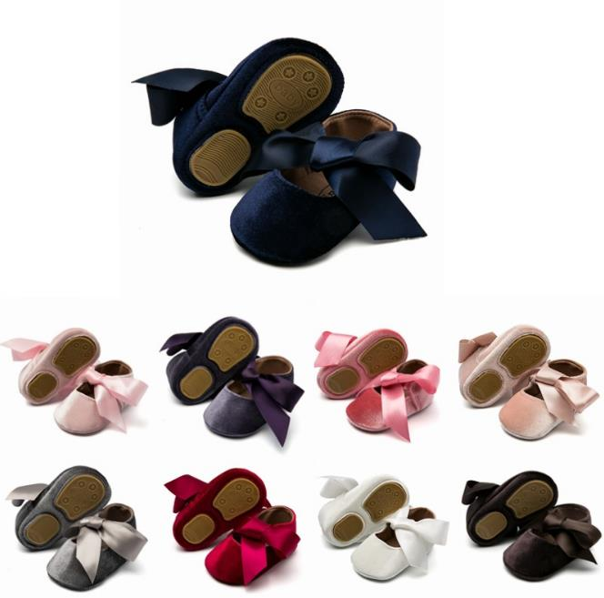 New Silk Bow Cotton Moccasins Baby Girls Shoes - Multi Colours Available