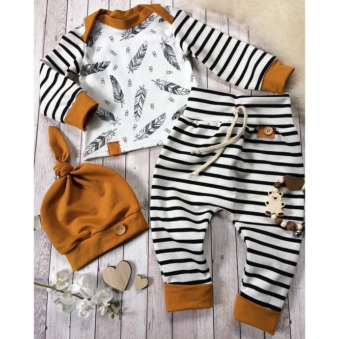 Baby Boys Feather T shirt, Striped Pants & Hat Outfits