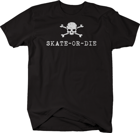 Skate or Die Retro Skateboard Skull