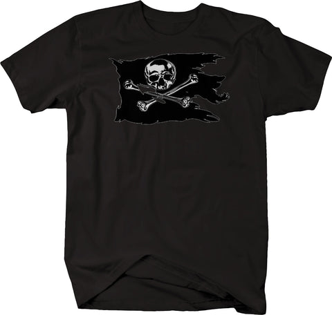 Tattered Pirate Flag Skull Crossbones Tshirt