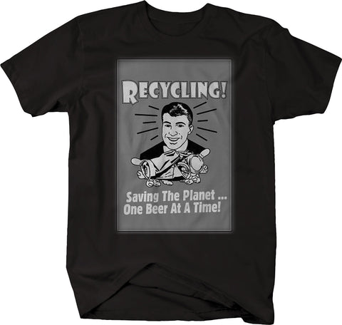 Recycling Saving the Planet one Beer at a time Funny Drinking Vintage Tshirt