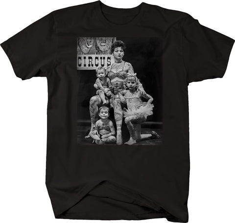 Mother & Children Tattooed Vintage Retro Circus Act Taboo Tattoo Tshirt