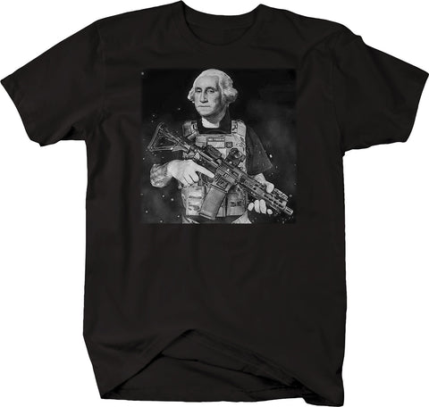 George Washington 3% 1776 Constitution NRA Rifle Funny Gun Rights Tshirt