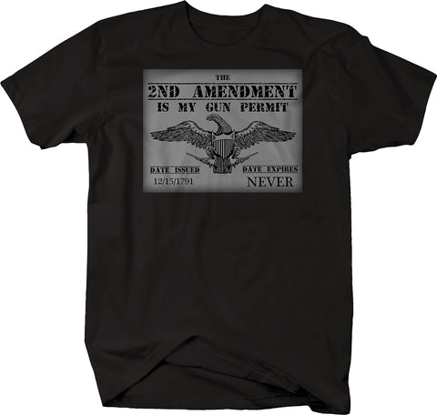 2nd Amendment Gun Permit American Eagle NRA  Tshirt