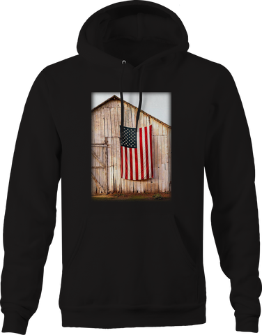 American Flag Hanging on Side of Old Barn Farming Pride
