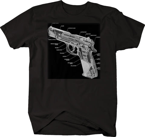 1911 Pistol Cutaway Breakdown Diagram  Tshirt