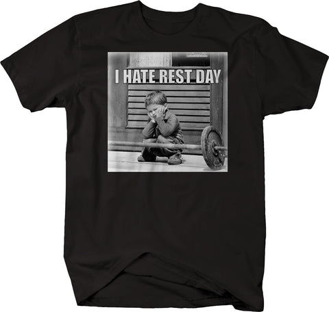 Gym Funny Hate Rest Day Workout Training Barbell  Tshirt