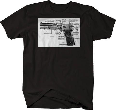 9mm Pistol Breakdown Diagram Gun Shooting 2nd Amendment Tshirt