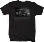 American Trucker Neon Lights Big Rig Foggy Night  Tshirt