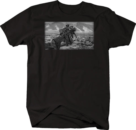 Military Tactical M16 Scope Mountain Range Two Tone Sniper Tshirt