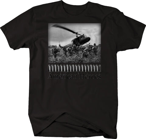 American Heroes Military Combat Helicopter Vietnam Korea War Army Tshirt