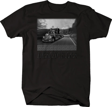 American Trucker Semi Diesel Highway Open Road  Tshirt