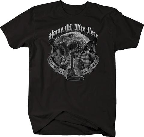 Home of the Free Because of the Brave American Eagle Flag Boots Rifle  Tshirt