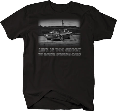 Life is Too Short to Drive Boring Cars - Black SS Coupe Hotrod Muscle Car  Tshirt