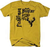 Half Fisherman Hunter Fishing Hunting Buck Deer Fish