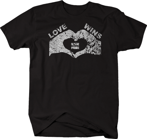 Distressed - Love Wins Hands Making Heart Equal Rights Gay Lesbian Pride LGBT