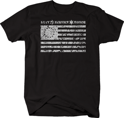 Distressed - Duty Service Honor 1776 American Flag Police Support