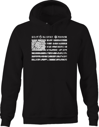 Duty Service Honor 1776 American Flag Police Support  Hoodie