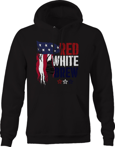 Red White Brew American Flag Beer Drinking Hoodie