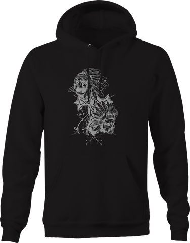 Native American Skull Chief Cross  Hoodie