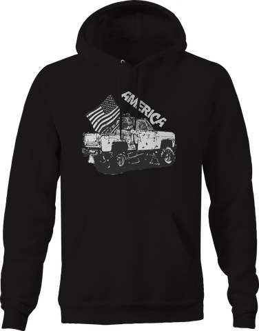 Lifted Pickup Truck American Flag Mud  Hoodie