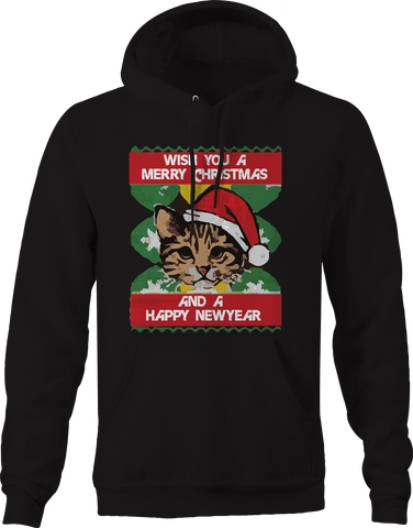Wish You Merrry Christmas Happy New Year Cat  Hoodie