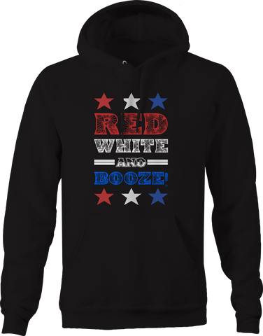 Red White Booze Blue Drinking American 4th July Hoodie