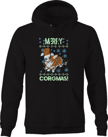 Merry Christmas Corgi Corgmas Dog Santa Hat Hoodie