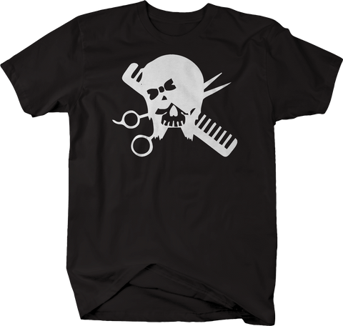 Hairdresser Skull Scissors & Comb Hair Stylist
