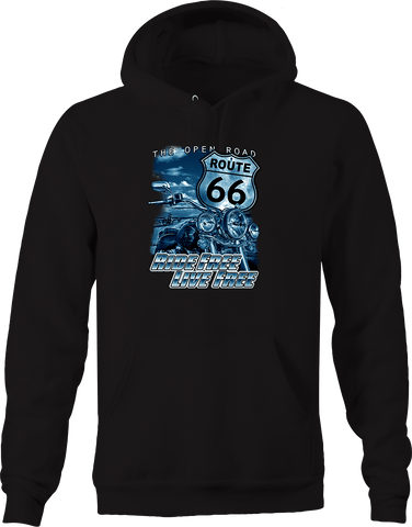 Route 66 the Open Road Ride Free Live Free Chopper Motorcycle Hoodie