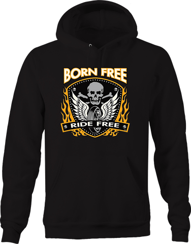 Born Free Ride Free Skull and Cross Bones Wheel with Angel Wings Hoodie