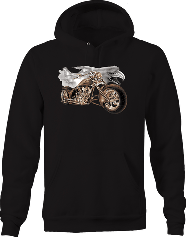 American Bald Eagle Lightning Chopper Bike Road trip Riding USA Hoodie