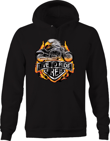 Live to Ride Free Flaming Chopper Bike American Bald Eagle Head Hoodie