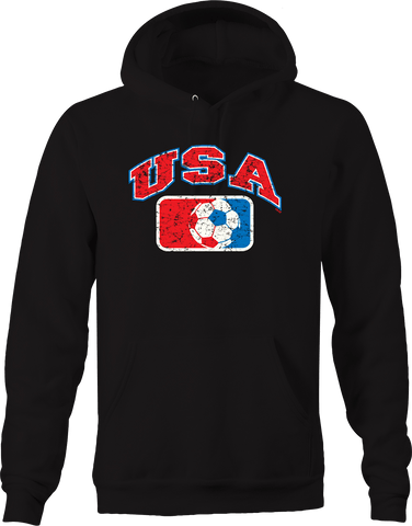 USA Red White and Blue Soccer Logo Distressed American Sports Hoodie