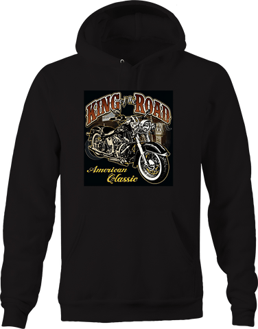 King of the Road American Classic Chopper Bike Road trip Biking Hoodie