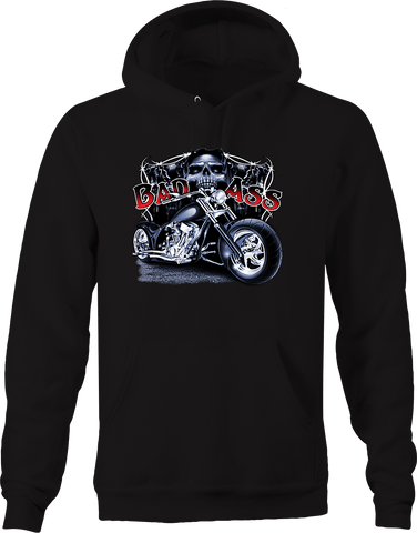 Bad Ass Chopper Bike Riding Biker Group Skull Reaper Backroading Hoodie