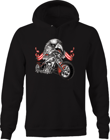 American Bald Eagle American Flag Chopper Bike Road trip Riding Hoodie