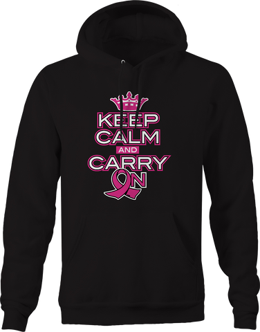 Keep Calm and Carry On Breast Cancer Awareness Relentless Fighter Hoodie