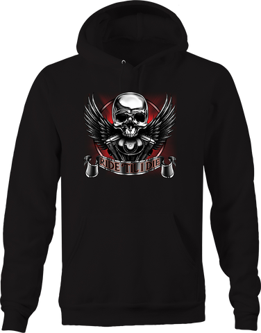 "Ride ""Til I Die Skull Angel Wings Engine Block Chopper Biker Trip Hoodie"