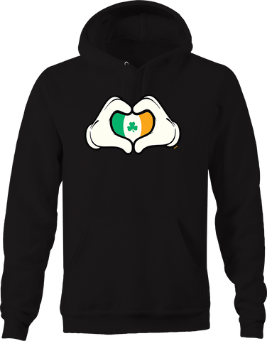Hands Holding Up Irish Flag Heart Lucky Charm Pub Bar Drinking Hoodie