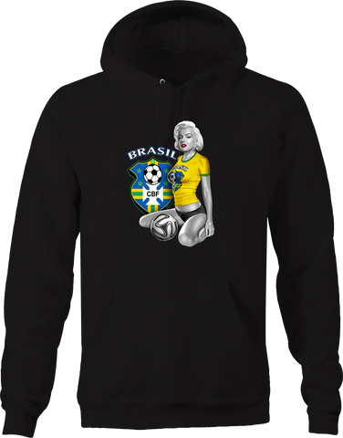 Marilyn Monroe Sexy Brazil Womens Soccer Player Score Goal Sports Hoodie