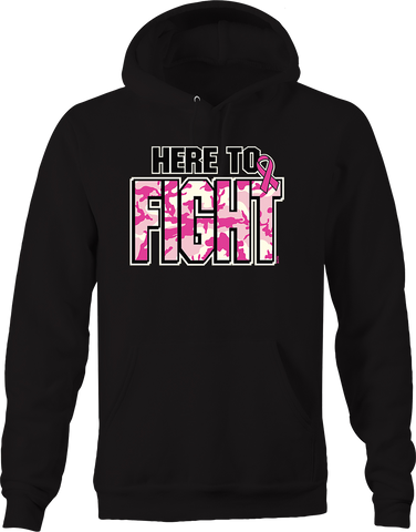 Here to Fight Breast Cancer Awareness Pink Camo Relentless Strong Hoodie