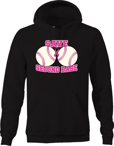 Save Second Base Breast Cancer Awareness Funny Sports Fighter Hoodie