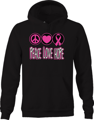 Peace Love Hope Breast Cancer Awareness Heart Relentless Fighter Hoodie