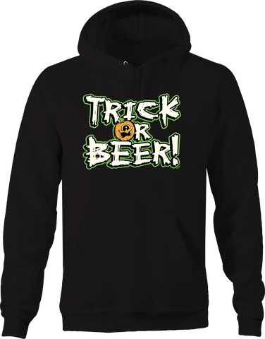 Trick or Beer Funny Haunted Jack O Lantern Treats Spooky Scary Hoodie